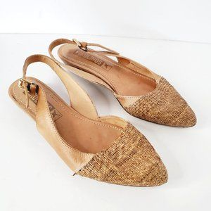 PIKOLINOS Tan Pointed Toe Leather Straw Sandals